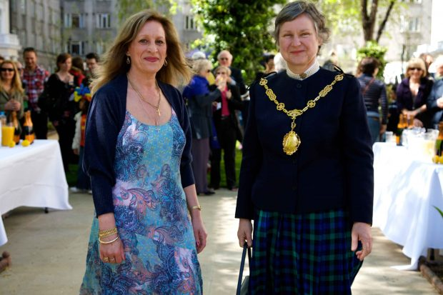 Mayor and maxine after ribbon cutting talbot square for 10 eastbourne terrace london w2 6lg