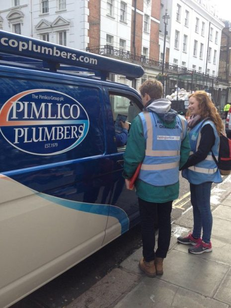 Volunteers on no idling campaign paddingtonnow for 10 eastbourne terrace london w2 6lg