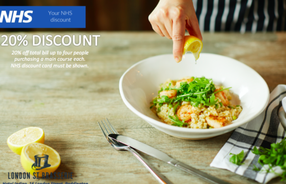 20% Discount in London Street Brasserie for NHS Staff