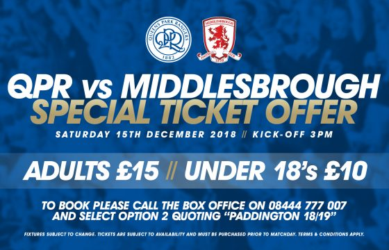 Special Offer – QPR vs Middlesbrough Football Tickets