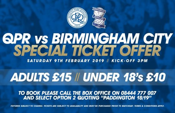 QPR vs Birmingham City – Special Ticket Offer